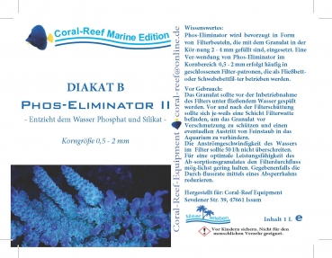 Coral Reef DIAKAT B Phosphat Eliminator II 0,5,-2,0 mm 1000 ml/Eimer
